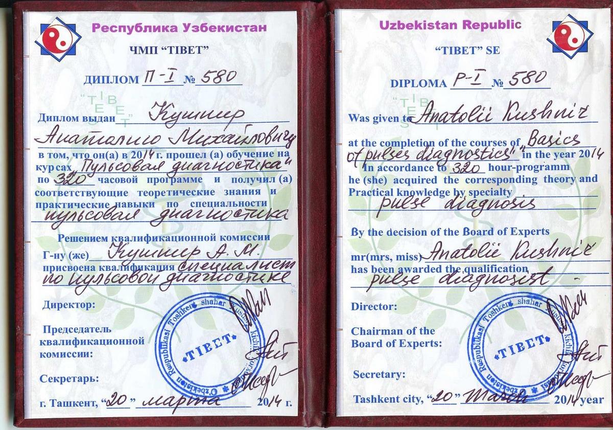 jpg Диплом по пульсовой диагностике Мастер Ойбек Наджимов Узбекистан 2014 год